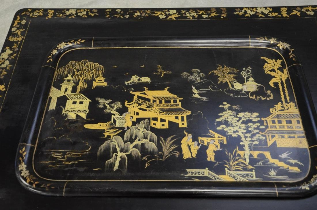 Silver and gold chinoiserie decorated black lacquered - 3