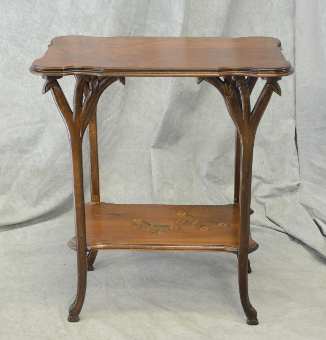 Emile Galle floral inlaid and carved side table