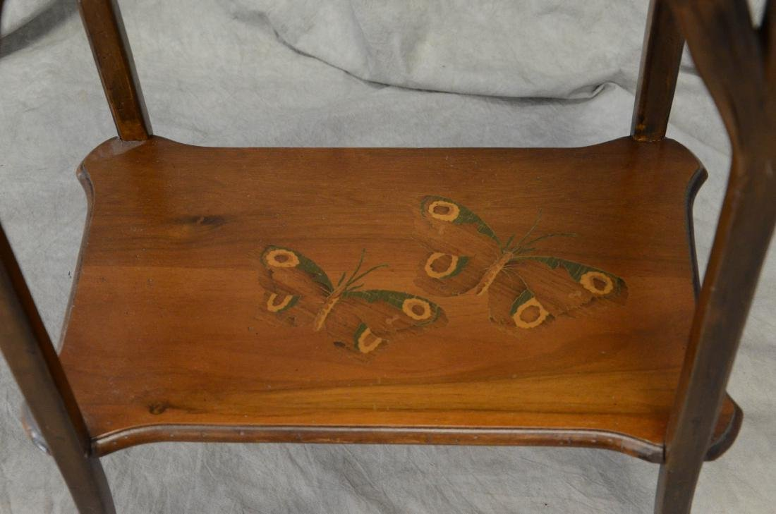 Emile Galle floral inlaid and carved side table - 2