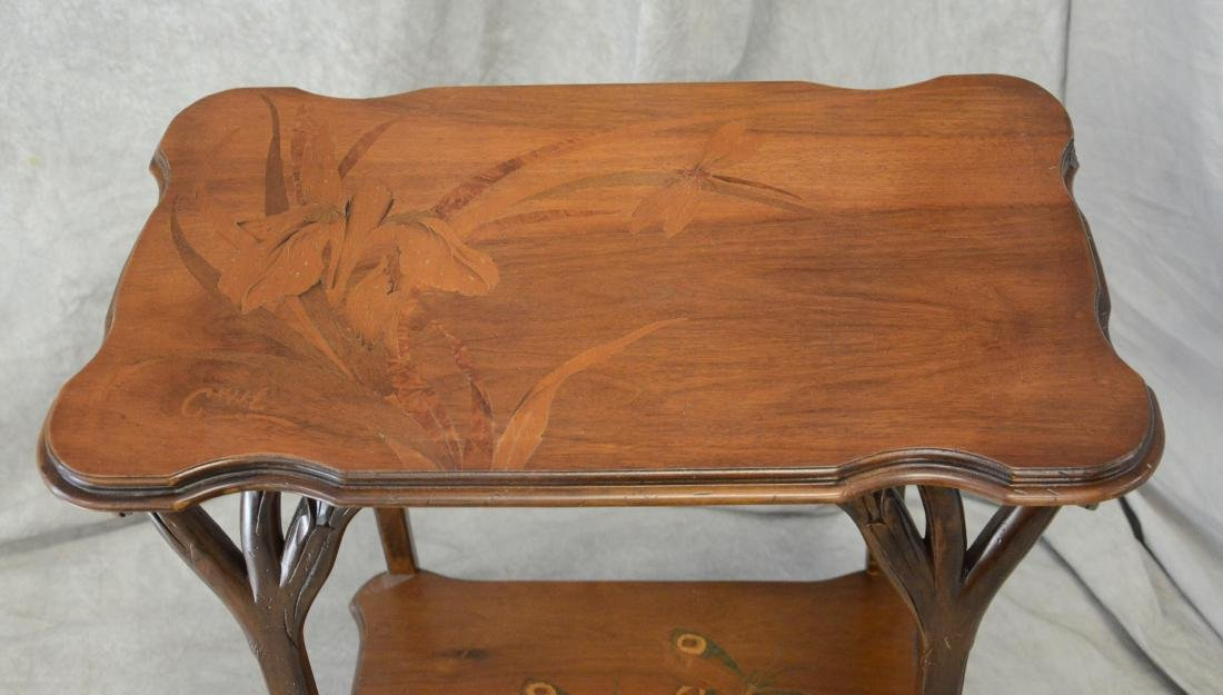 Emile Galle floral inlaid and carved side table - 4