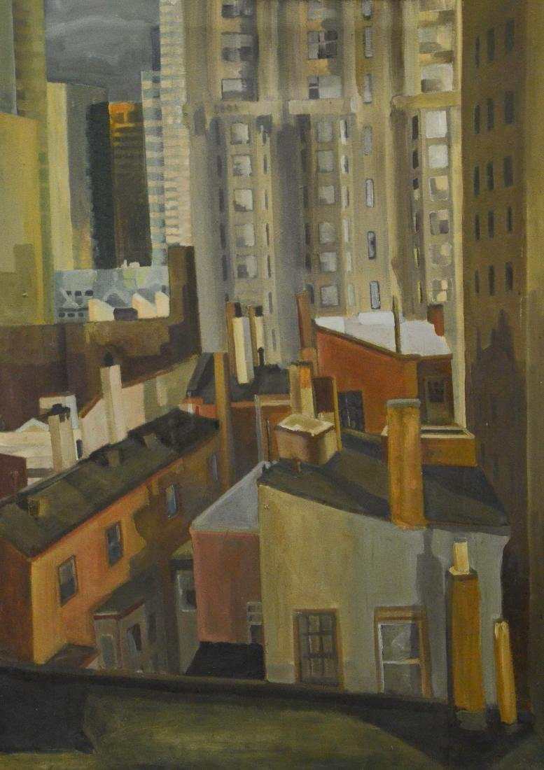 Mid-century modern large format cityscape painting