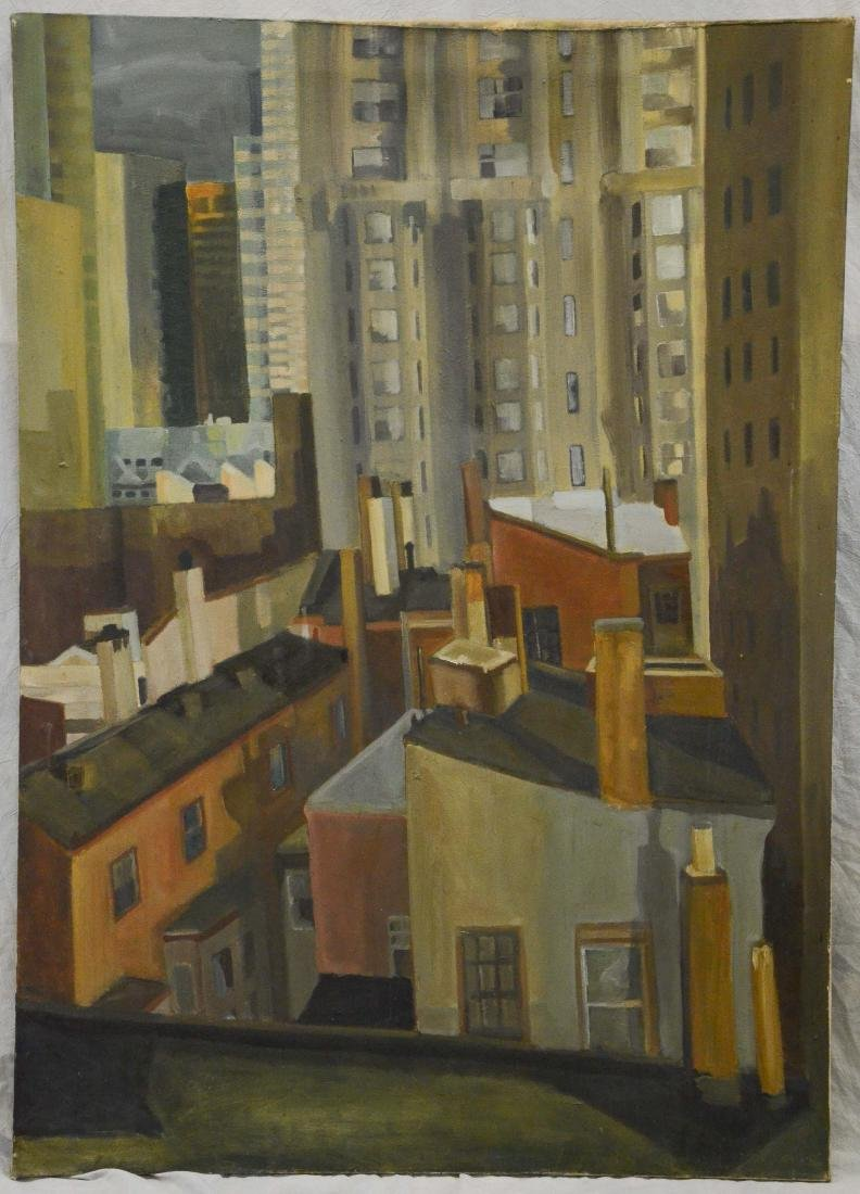 Mid-century modern large format cityscape painting - 2