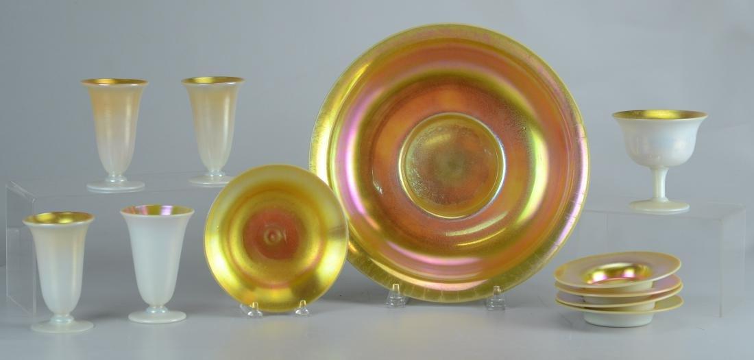 (11) Pcs Steuben calcite and gold aurene glass
