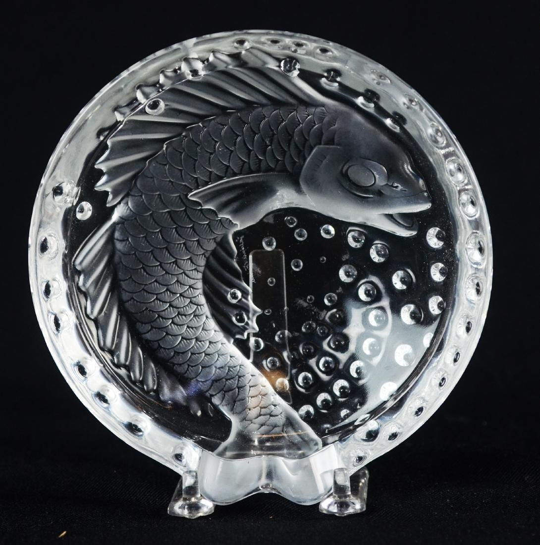 Lalique France Concarneau koi fish cigar ashtray