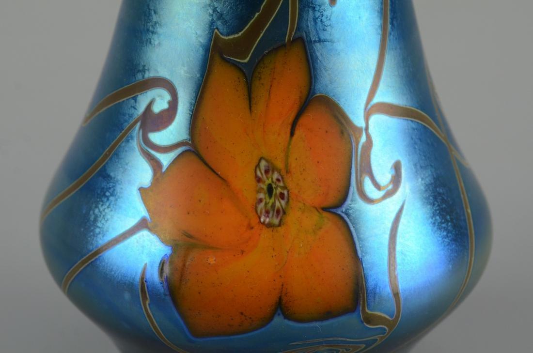 Vandermark blue iridescent vase with large orange - 2