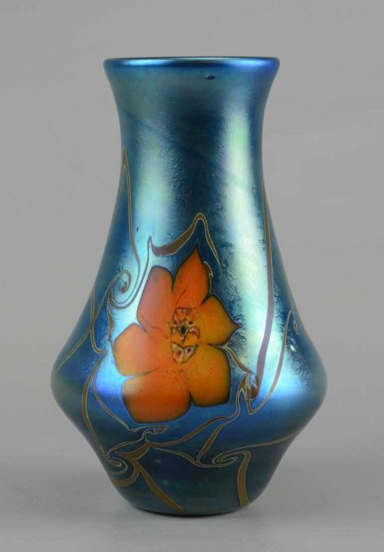 Vandermark blue iridescent vase with large orange - 3