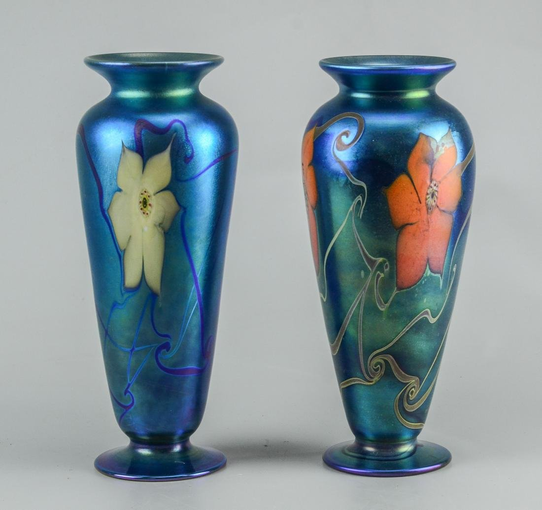 2 Vandermark tall footed blue vases, one with large w