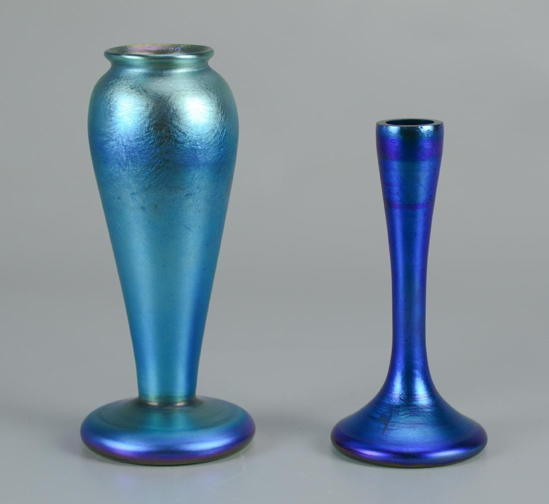 (2) Blue aurene vases