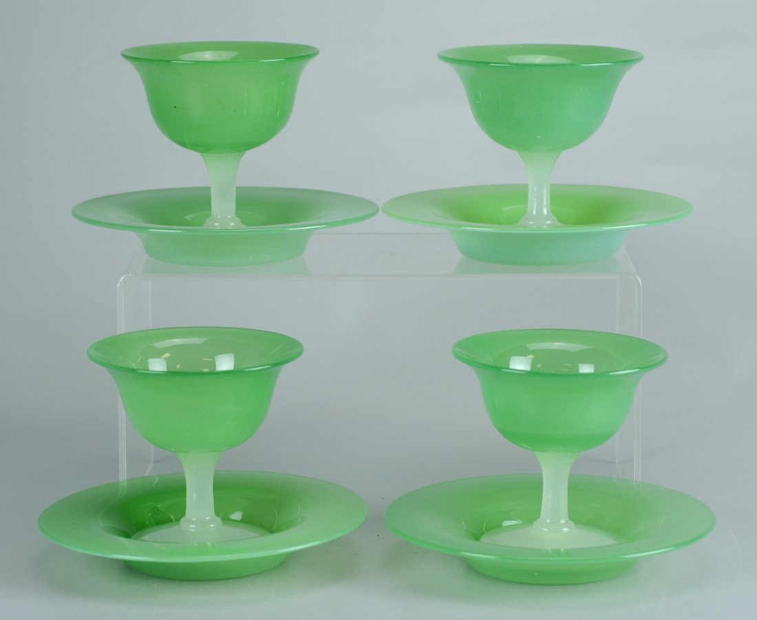 (8) Pcs Steuben green jade and alabaster glass sherbets