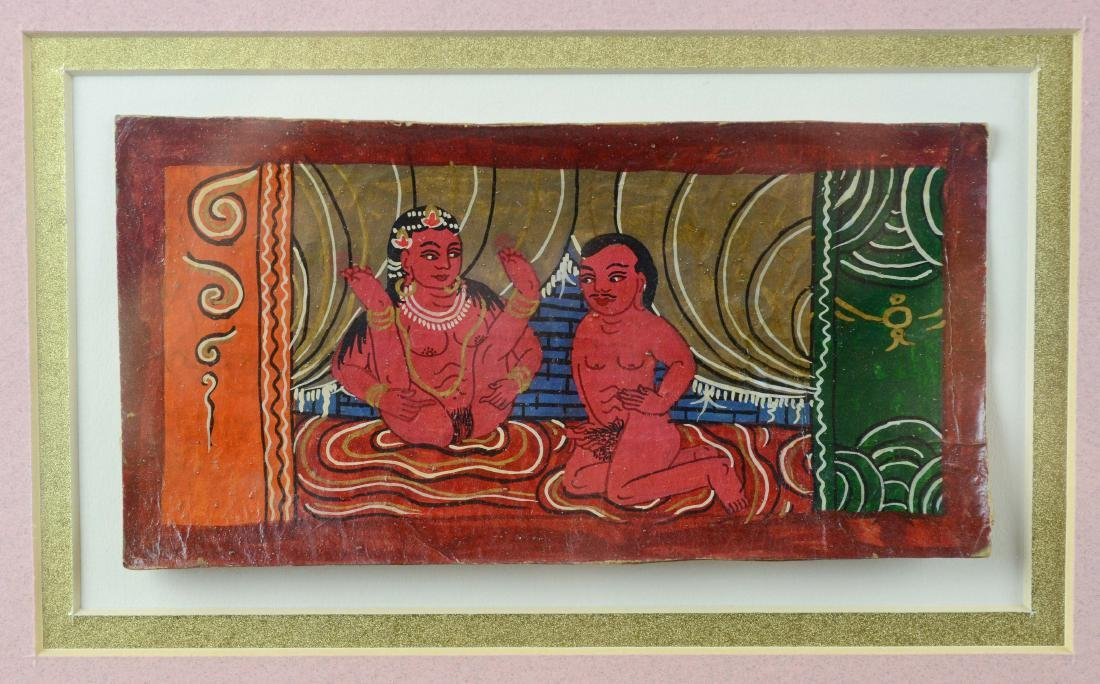 9 miniature Asian Kama Sutra erotic paintings - 3