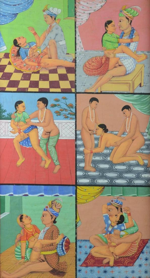 Erotic Indian painting depicting 6 scenes