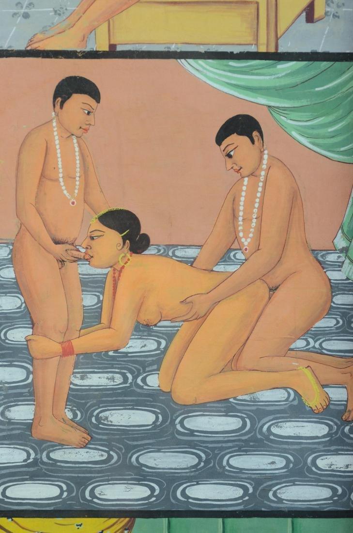 Erotic Indian painting depicting 6 scenes - 4