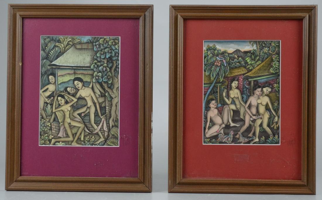 Lot of 5 Asian and Balinese erotic watercolors - 10