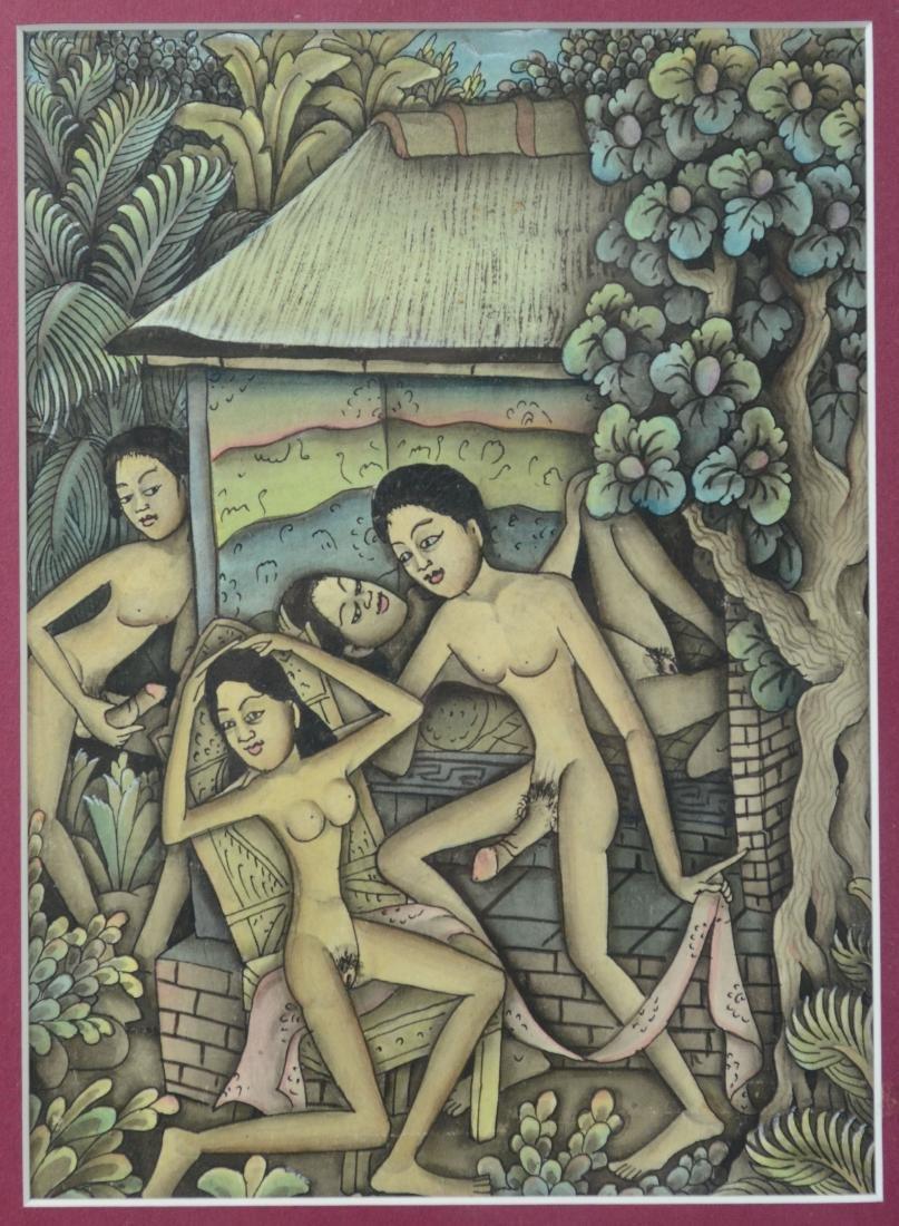 Lot of 5 Asian and Balinese erotic watercolors - 11