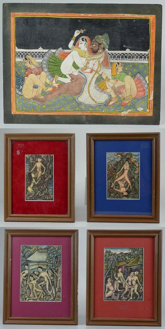 Lot of 5 Asian and Balinese erotic watercolors