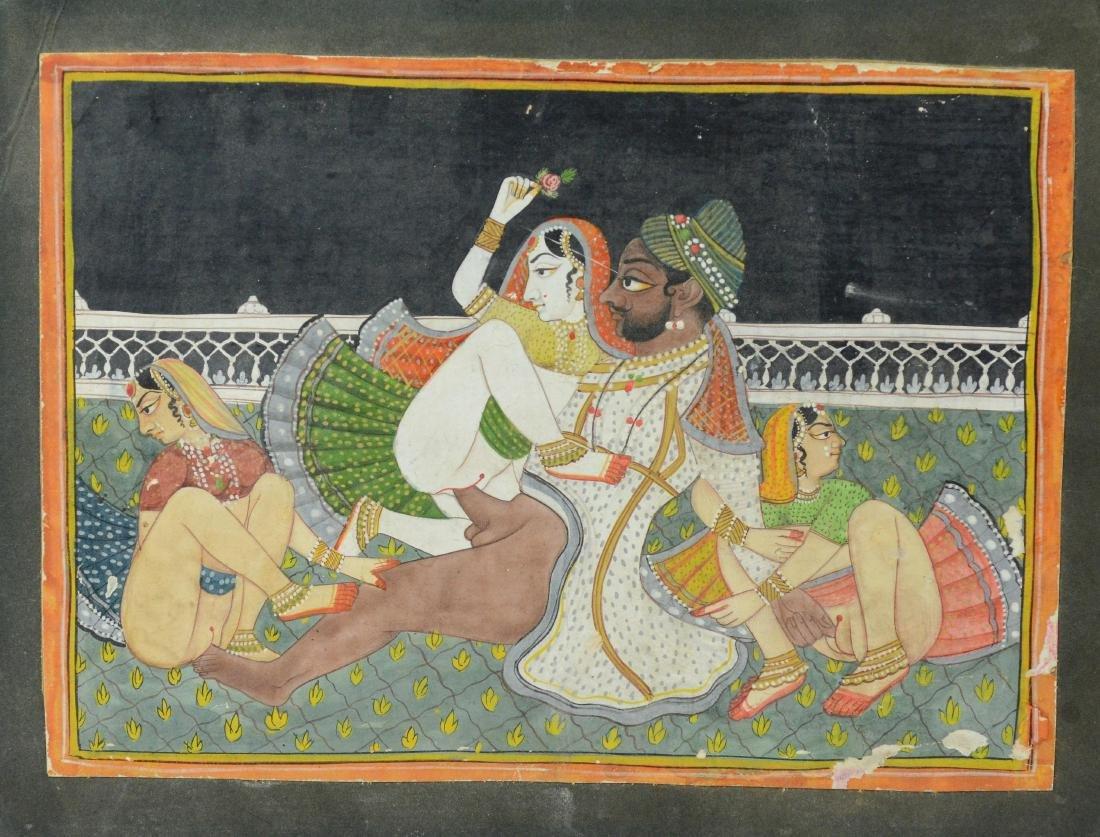 Lot of 5 Asian and Balinese erotic watercolors - 3