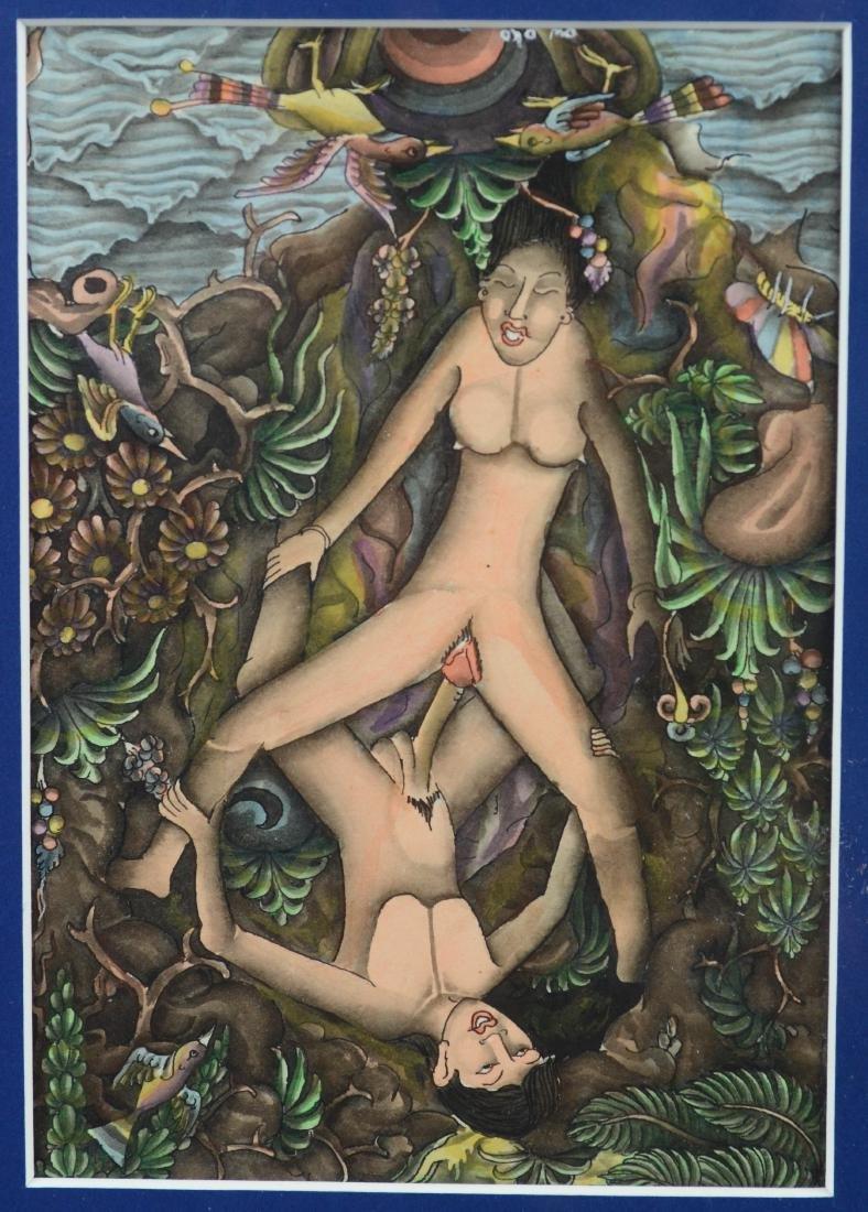 Lot of 5 Asian and Balinese erotic watercolors - 8