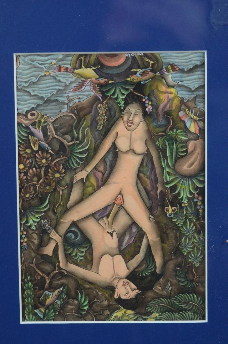 Lot of 5 Asian and Balinese erotic watercolors - 9