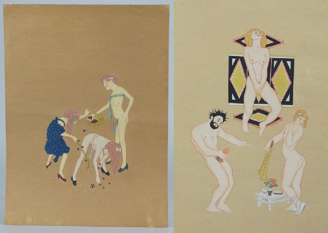 2 Erotic paintings, ink and watercolor on paper