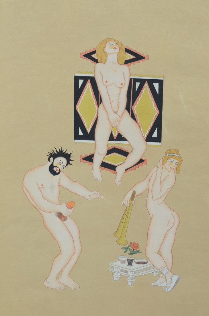 2 Erotic paintings, ink and watercolor on paper - 5