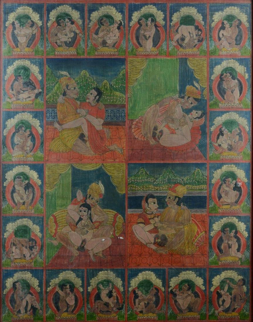 Antique Erotic Kama Sutra Painting