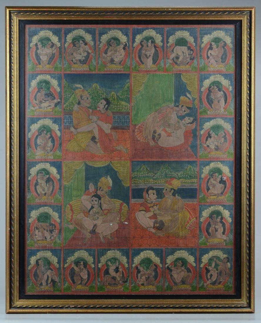 Antique Erotic Kama Sutra Painting - 2