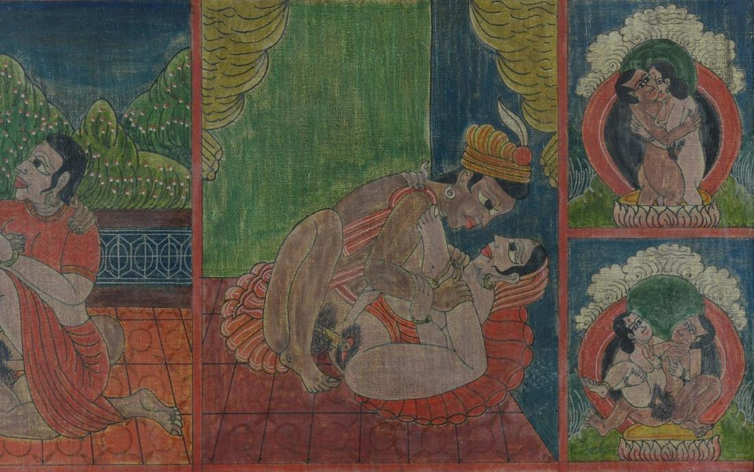 Antique Erotic Kama Sutra Painting - 3