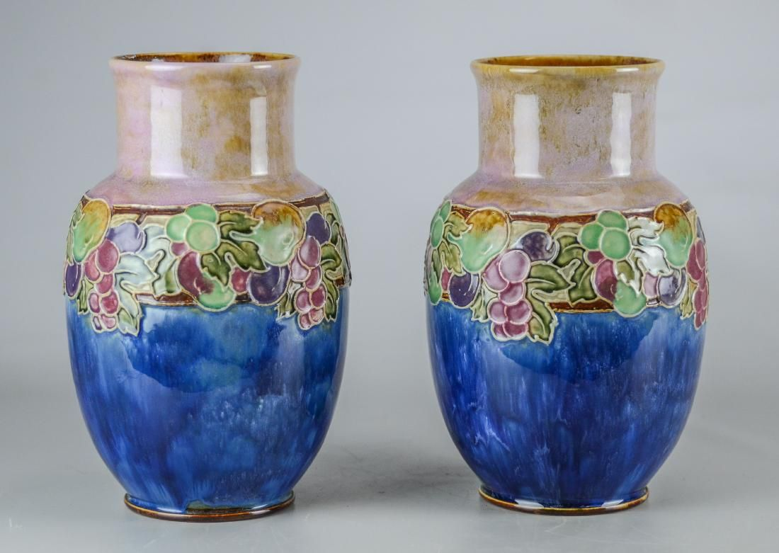 Pr Royal Doulton stoneware vases