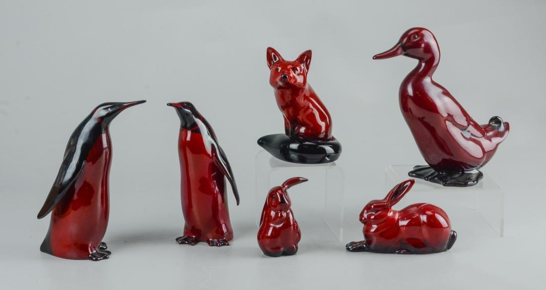 (6) Royal Doulton flambe pottery animals