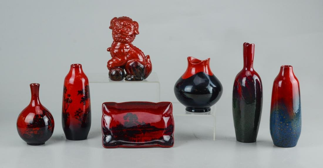 7 Pcs Royal Doulton flambe pottery:  5 vases, foo dog