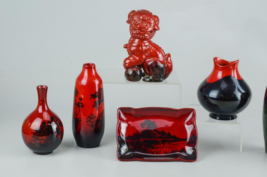 7 Pcs Royal Doulton flambe pottery:  5 vases, foo dog - 2