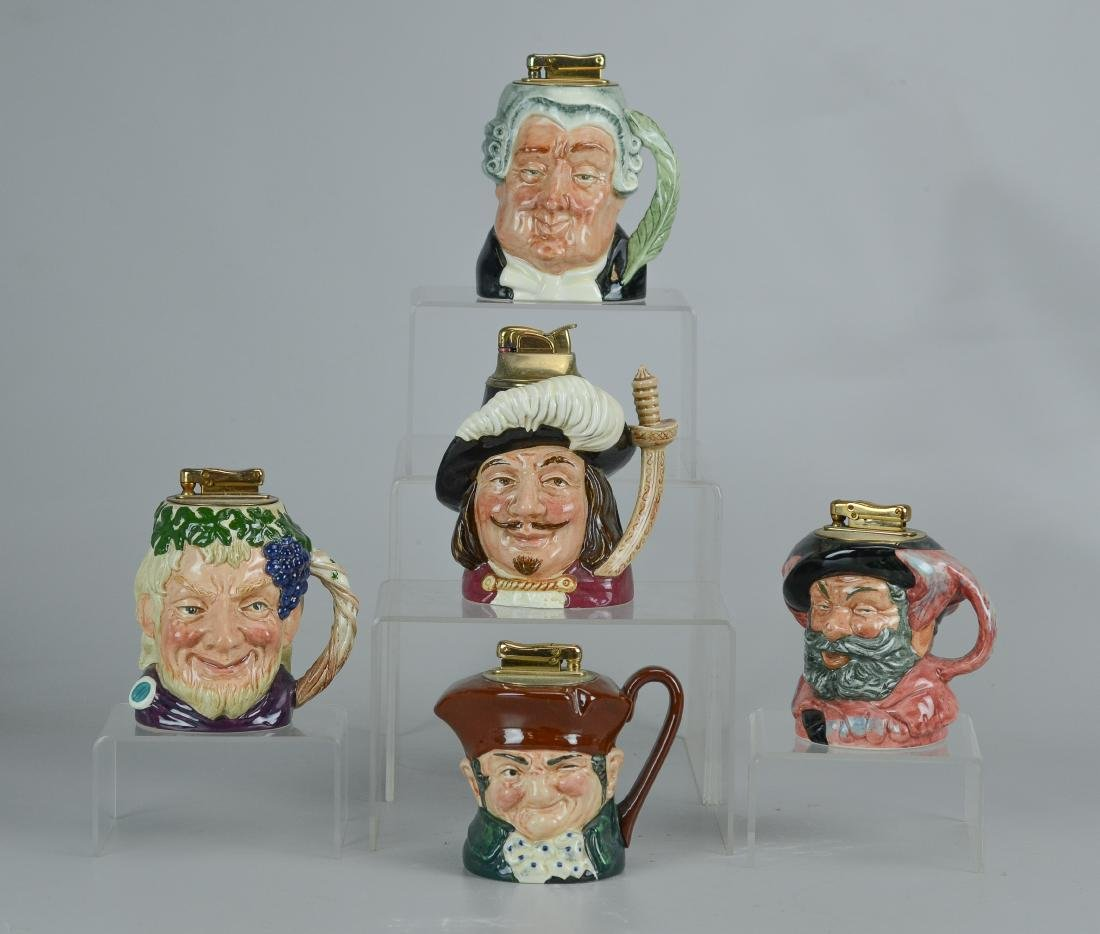 (5) Royal Doulton Toby jug lighters
