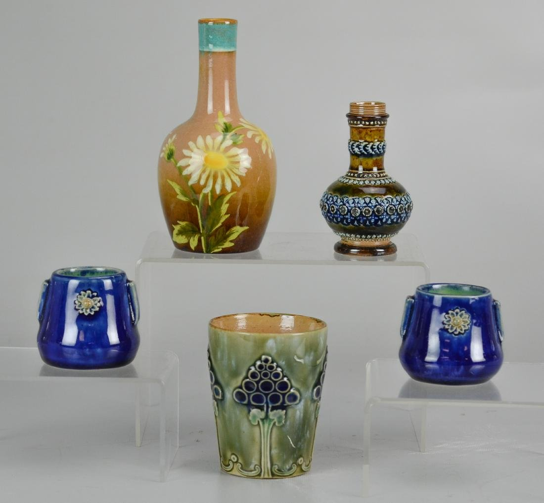 (5) Pcs Royal Doulton & Doulton Lambeth stoneware