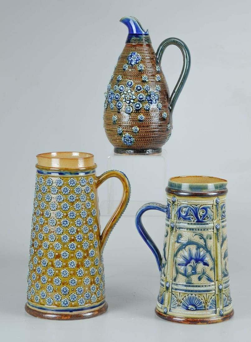 (3) Doulton Lambeth stoneware pitchers