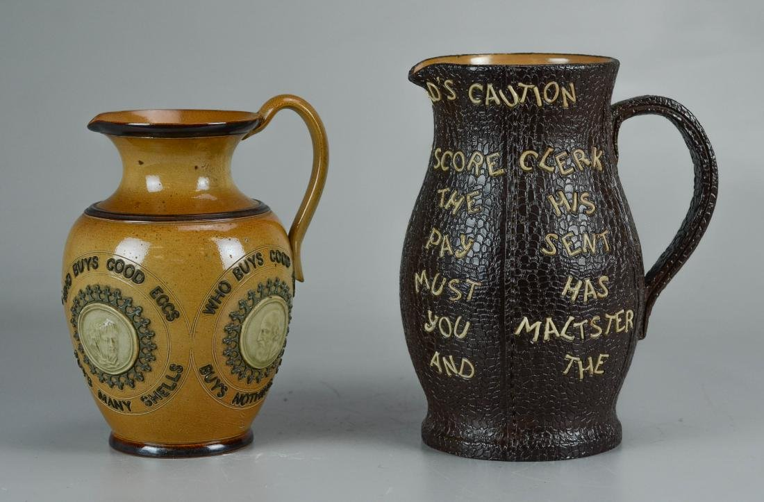 (2) Doulton Lambeth stoneware pitchers