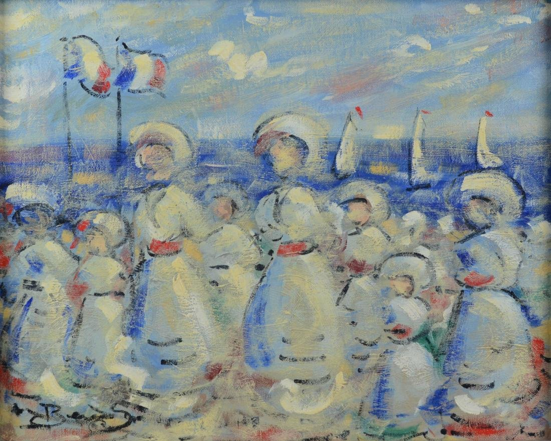 Contemporary Impressionist painting, French beach