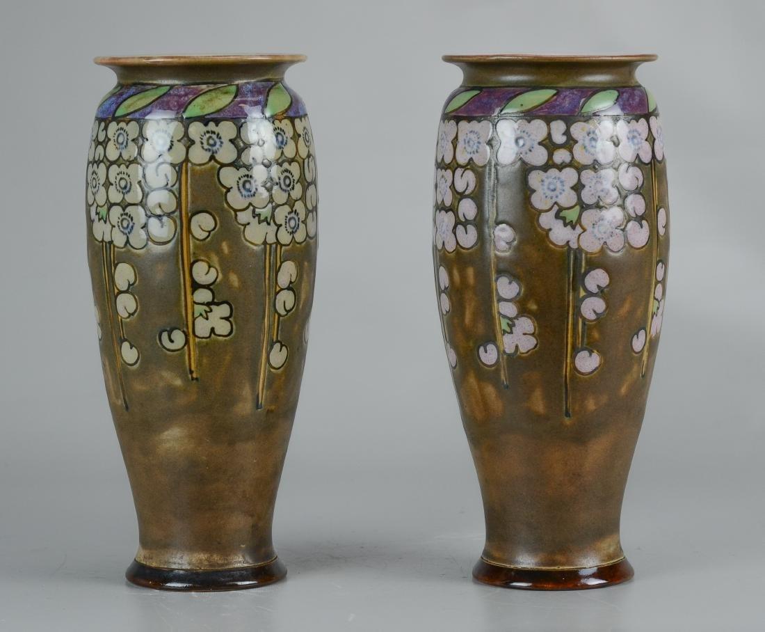 "Pr Doulton stoneware decorated vases, each 10-1/2"" h"