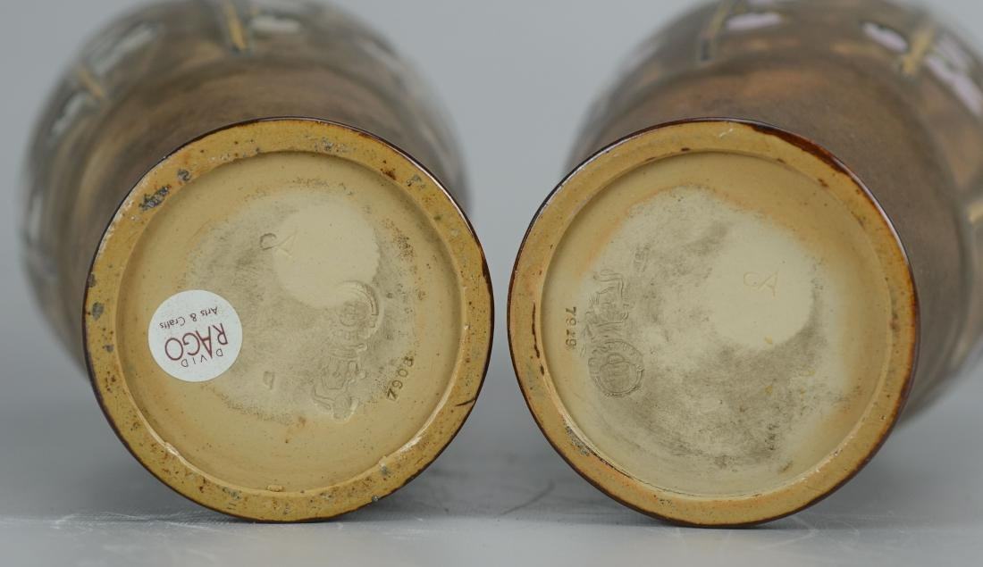 "Pr Doulton stoneware decorated vases, each 10-1/2"" h - 2"