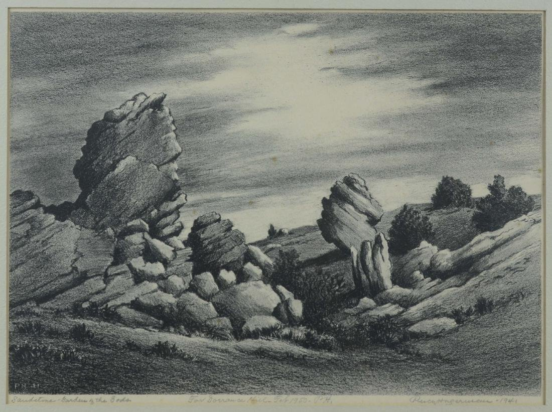 Percy Hagerman, lithograph of Western landscape