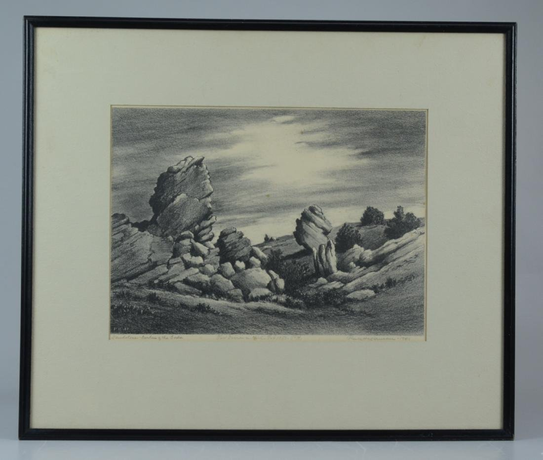 Percy Hagerman, lithograph of Western landscape - 2