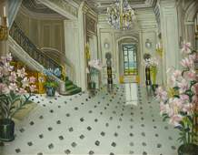 Contemporary oil painting of Beaulieu entry hall