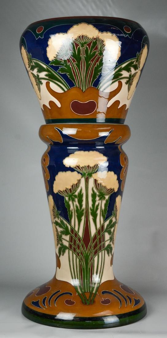 Large Art Nouveau jardiniere and pedestal