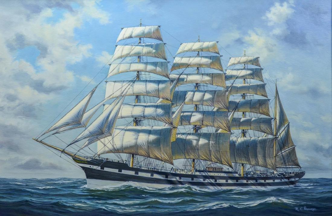 "Richard C Moore, 20th C American, marine painting, ""M"