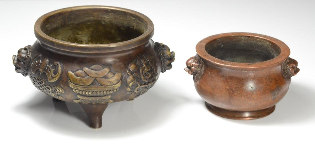 2 Chinese bronze censers, mythical animal handles - 4