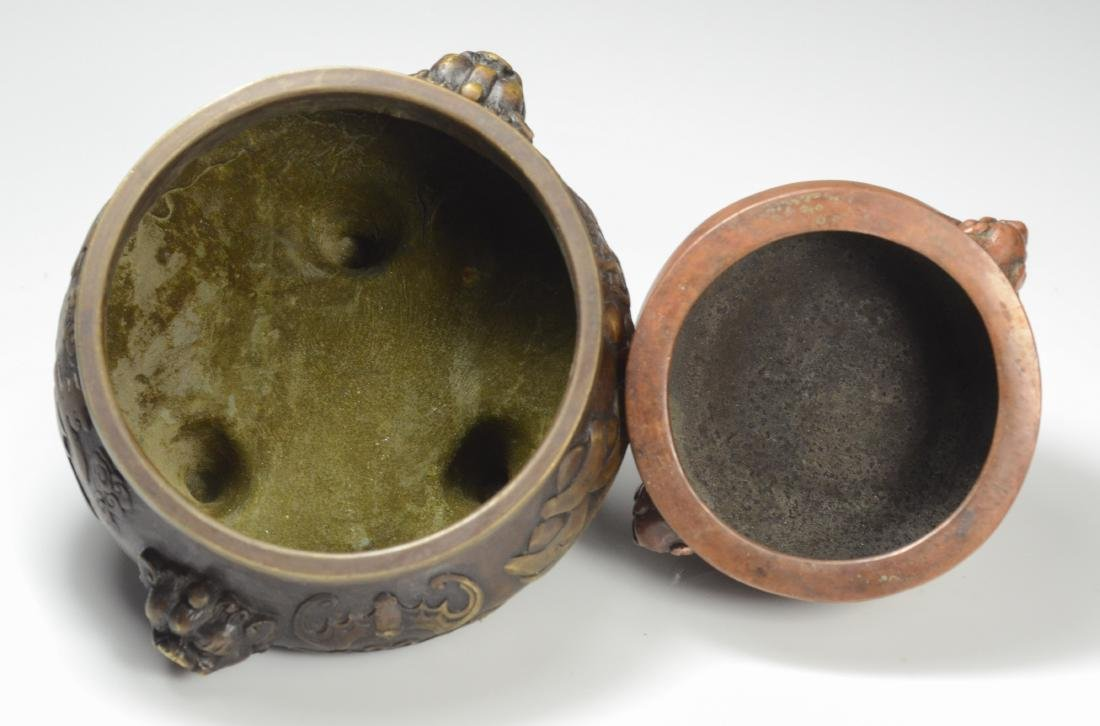 2 Chinese bronze censers, mythical animal handles - 5