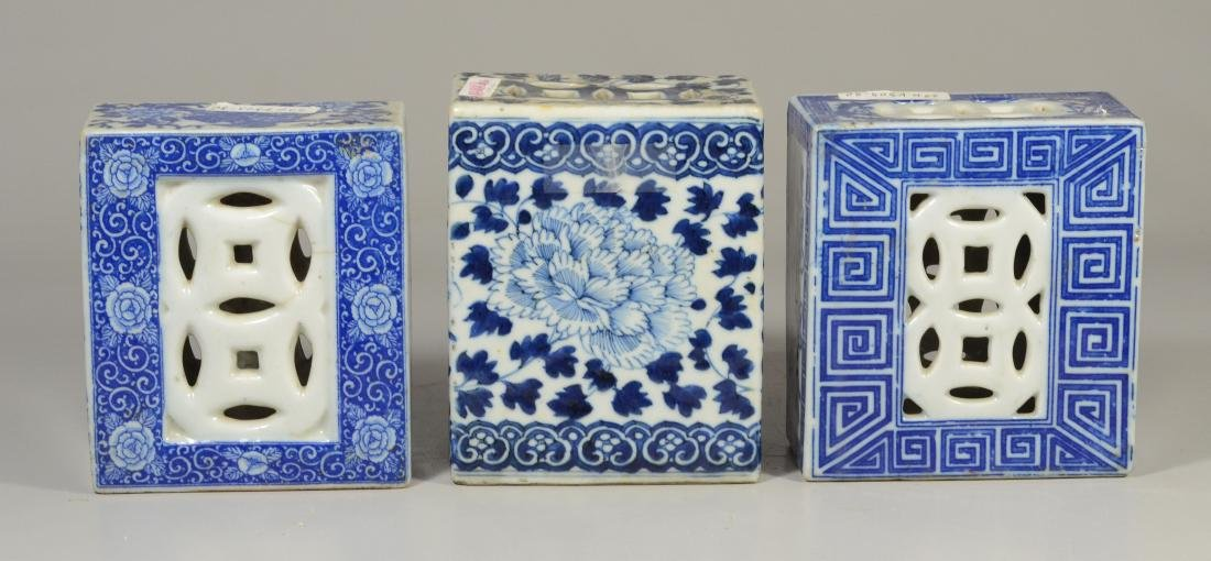 3 Chinese porcelain blue and white pillows