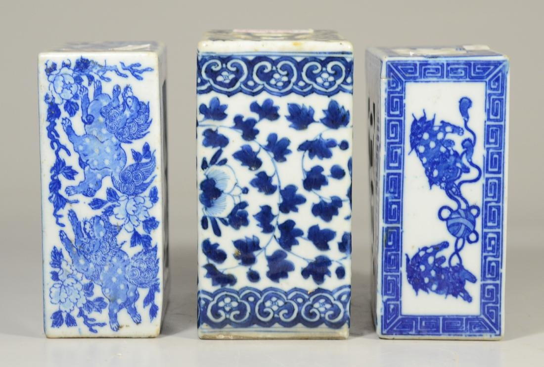 3 Chinese porcelain blue and white pillows - 2