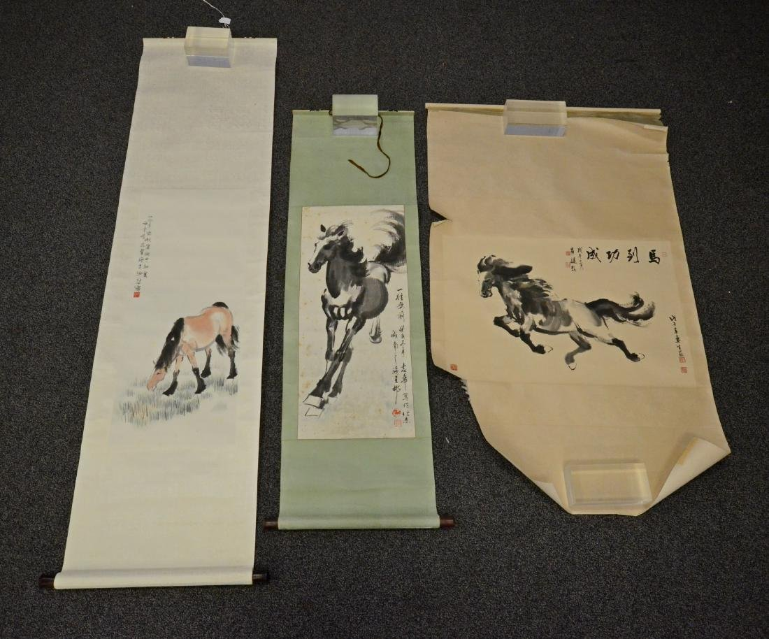 3 Chinese scrolls depicting horses