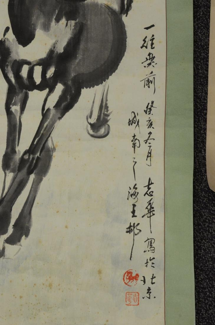 3 Chinese scrolls depicting horses - 2