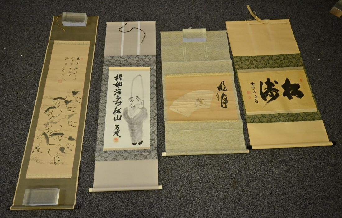 4 Chinese scrolls, one with calligraphy